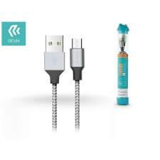 Devia USB - micro USB adat- és töltőkábel 1 m-es vezetékkel - Devia Tube for Android USB 2.4A - silver/black mobiltelefon kellék