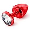 DIOGOL Anni - fehér köves análkúp - piros (3,5cm)