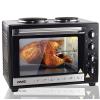 DMS Germany DMS Germany OCRH-48D Mini konyha, sütővel és dupla főzőlappal,  Hőlégkeveréssel, 3200W, Fekete színben