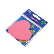 DONAU Öntapadó jegyzettömb, szív alakú, 50 lap, DONAU, rózsaszín jegyzettömb