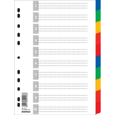 DONAU Regiszter, műanyag, A4, 10 részes, DONAU, színes lefűző