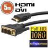 DVI-D / HDMI kábel • 5 m aranyozott csatlakozóval