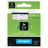"""DYMO Feliratozógép szalag, 12mmx7m, DYMO """"D1"""", víztiszta-fehér"""