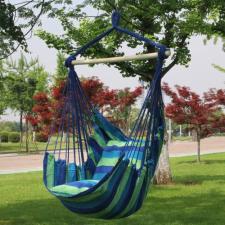 Egyszemélyes függőszék 85x130-as, ajándék párnákkal kék-zöld színben kerti bútor