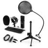 Electronic-Star auna CM001B mikrofon készlet V2, kondenzátoros mikrofon, USB-adapter, mikrofon állvány, fekete