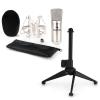 Electronic-Star auna CM001S mikrofon készlet V1 - ezüst stúdió mikrofon pókkal és asztali állvánnyal