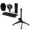 Electronic-Star auna CM00B mikrofon készlet V1 - fekete stúdió mikrofon pókkal és asztali állvánnyal