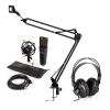 Electronic-Star auna MIC-920B USB mikrofon szett V3 fejhallgató, kondenzátoros mikrofon, mikrofon kar
