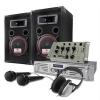 Electronic-Star DJ szett 1000W hangfalak, erosíto, kevero, fejhallgató, mikr