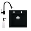 Eos Gránit mosogató EOS Como + Kihúzható zuhanyfejes Snake csaptelep + adagoló (matt fekete)