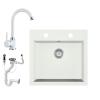 Eos Gránit mosogató EOS Como + magasított csaptelep + dugókiemelő + szifon (fehér)