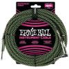 Ernie Ball 10' Braided Straight Angle Black/Green