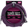 Ernie Ball 25' Braided Straight / Angle Instrument Cable Neon Purple/Black