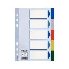 ESSELTE Regiszter, műanyag, A5, 5 részes, ESSELTE, színes irodai kellék
