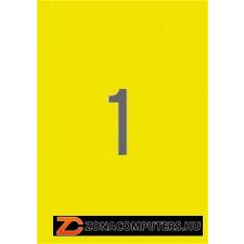Etikett, 210x297 mm, színes, APLI, neon sárga, 100 etikett/csomag (LCA11747) etikett