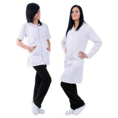 Euro Protection Fehér színű 100% pamut hosszú ujjú női köpeny
