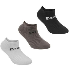 Everlast sportzokni 3 pár/csomag, Fekete/szürke/fehér - Everlast 3 Pack Trainer Socks