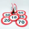 Évszámos sebességkorlátozó tábla, kétoldalas 10 cm  (65-ös)