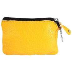Excellanc Excellanc valódi bőr érmetartó tárca, 12x8 cm - sárga