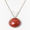 Ezüst bevonatos félgömb medálos nyaklánc barna jwr-1429