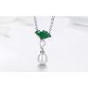 Ezüst nyaklánc lótuszvirággal, zöld