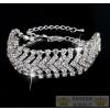 Ezüstözött karkötő kristályokkal, ezüst színben, 17+6 cm