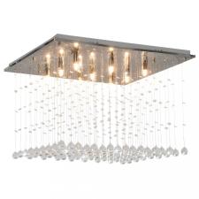 Ezüstszínű, kocka alakú mennyezeti lámpa kristálygyöngyökkel G9 világítás