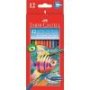 Faber-Castell Aquarell színes ceruza készlet, hatszögletû, ecsettel, FABER-CASTELL, 12 különbözõ szín