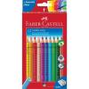 """Faber-Castell Színes ceruza készlet, háromszögletű,  """"Jumbo Grip"""", 12 különböző szín + hegyező"""
