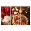 Falikép szett, 3 részes, pizza, 50 x 105 cm