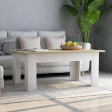 Fehér és sonoma színű forgácslap dohányzóasztal 100x60x42 cm bútor