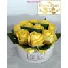 Fehér kicsi henger rózsa box sárga rózsákkal