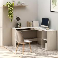 Fehér magasfényű L-alakú sarok-íróasztal 120 x 140 x 75 cm íróasztal