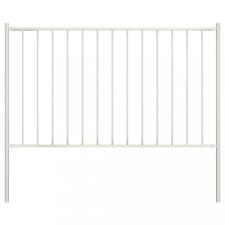 Fehér porszórt acél kerítéspanel oszlopokkal 1,7 x 1,25 m kerti dekoráció