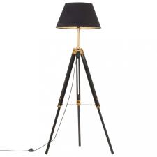 Fekete-aranyszínű háromlábú tömör tíkfa állólámpa 141 cm világítás