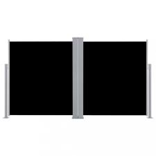 Fekete behúzható dupla oldalsó teraszi napellenző 170 x 600 cm kerti dekoráció