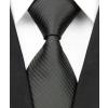 Fekete, bordázott klasszikus fazonú selyemnyakkendő