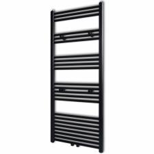Fekete fürdőszobai törölközőszárító radiátor központi fűtéssel egyenes 600 x 1424 mm fűtőtest, radiátor