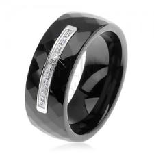 Fekete kerámia gyűrű csiszolt felülettel, vékony acél sáv, cirkóniák gyűrű