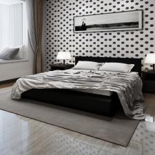 Fekete Műbőr Ágy Matraccal 180 x 200 cm ágy és ágykellék