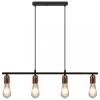 Fekete-rézszínű mennyezeti lámpa 80 cm E27