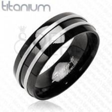Fekete titánium gyűrű - két ezüst csík gyűrű