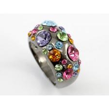 Fekete tónusú gyűrű, sokszínű Swarovski jellegű kristályokkal #7  + AJÁNDÉK DÍSZDOBOZ gyűrű