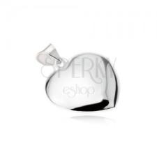 Fényes sima asszimetrikus szív medál, 925 ezüstből medál