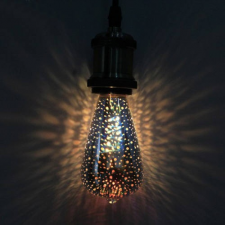 Fényjáték hatású, csepp alakú LED izzó E27 foglalattal, 4W izzó