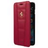 Ferrari iPhone 6 Plus/6S Plus 458 Genuine Leather Gold Logo oldalra nyíló tok, piros