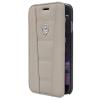 Ferrari iPhone 6 Plus/6S Plus 458 Genuine Leather oldalra nyíló tok, sötét szürke
