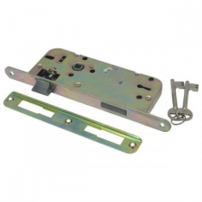 FLAME Beltéri bevésőzár, 45×90×20×7mm-es, 2 kulcsos, kerek előlappal, Flame lakat