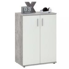 FMD fehér és szürke fiókos szekrény 2 ajtóval bútor
