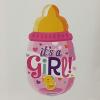 Fólia nagy lufi babaszületésre Cumisüveg pink